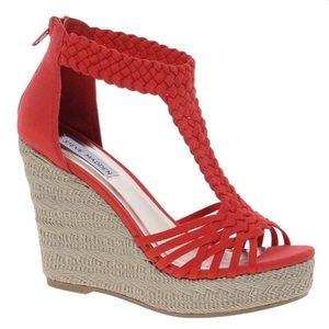 Steve Madden Red Espadrille Wedge Sandals Size 8.5